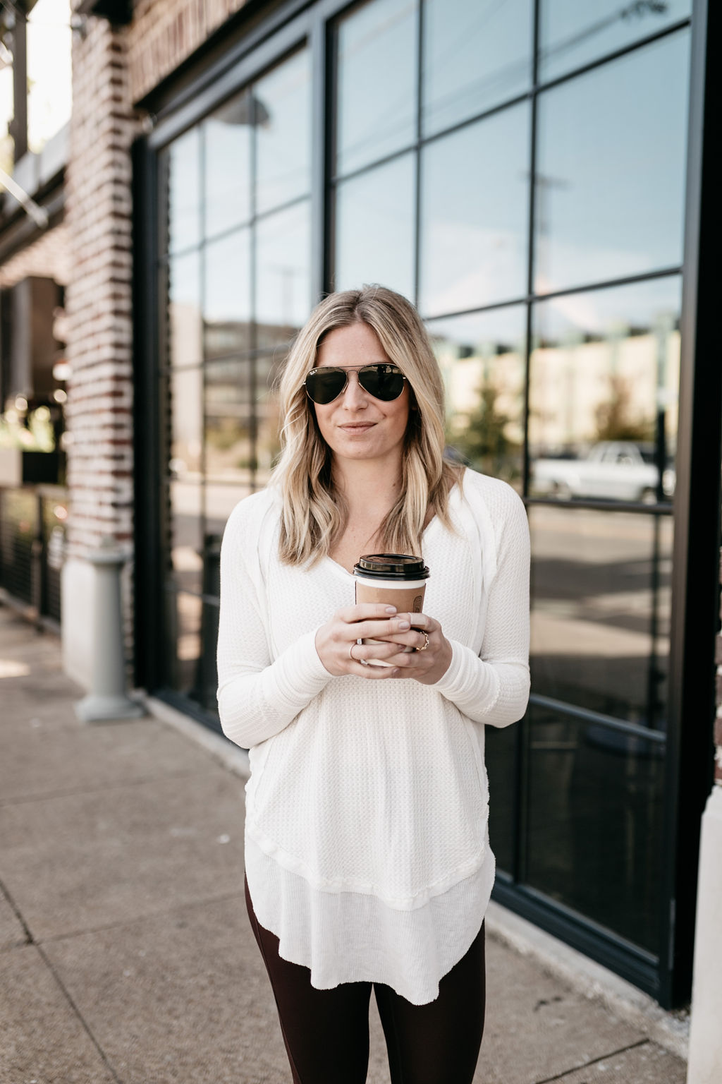 White Catalina V-Neck Thermal Top FREE PEOPLE