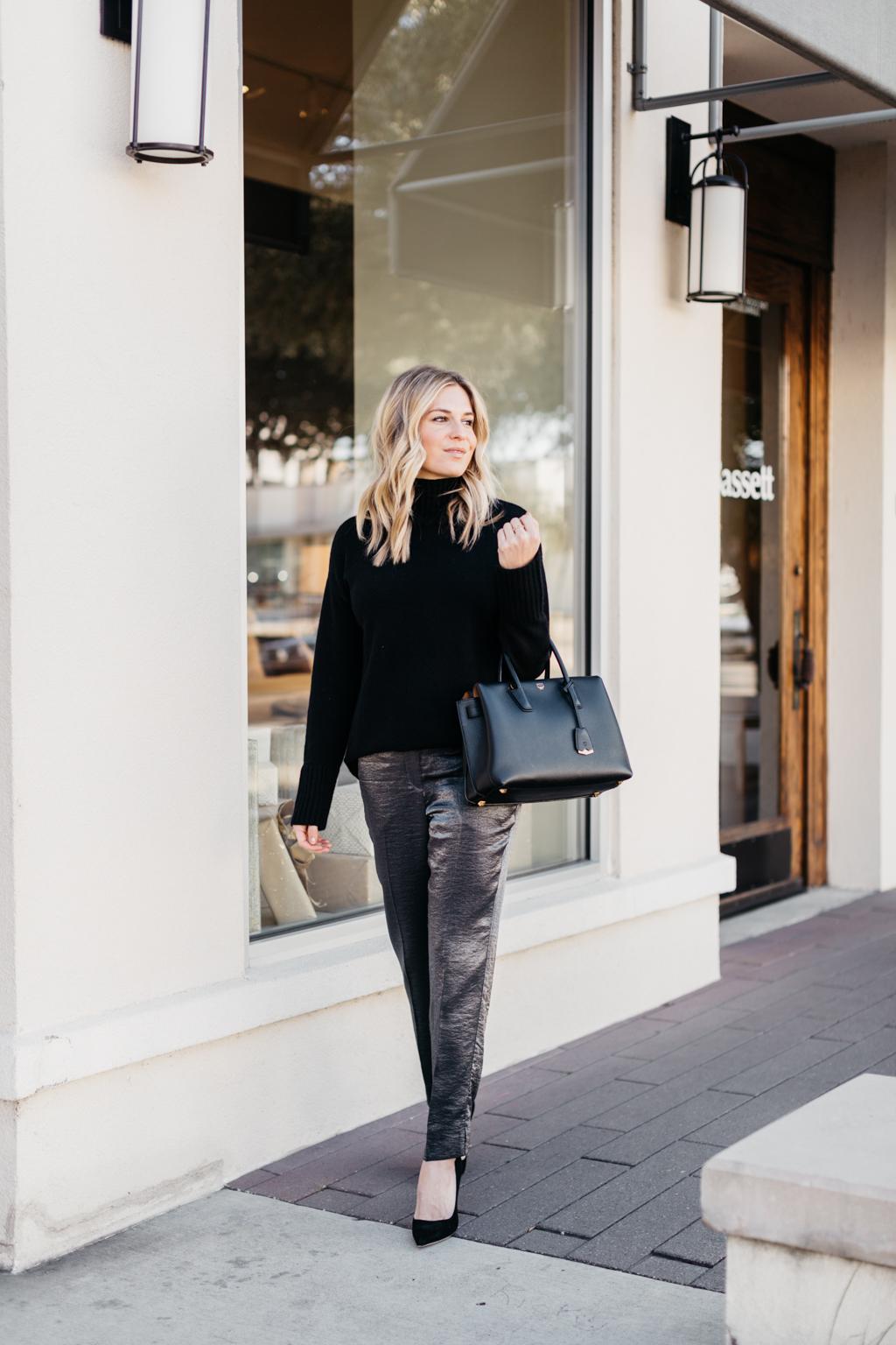 cozy black sweater.
