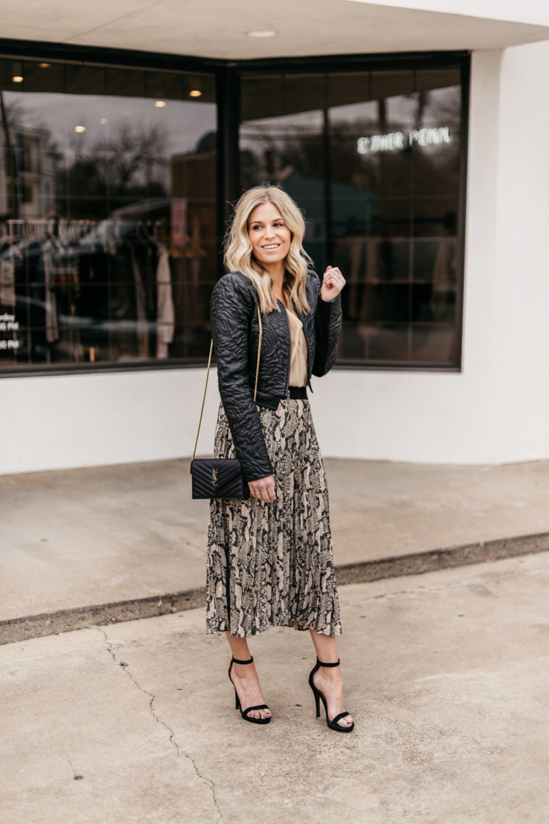 Leopard Skirt// Twist Top // Leather Jacket // Black Pumps
