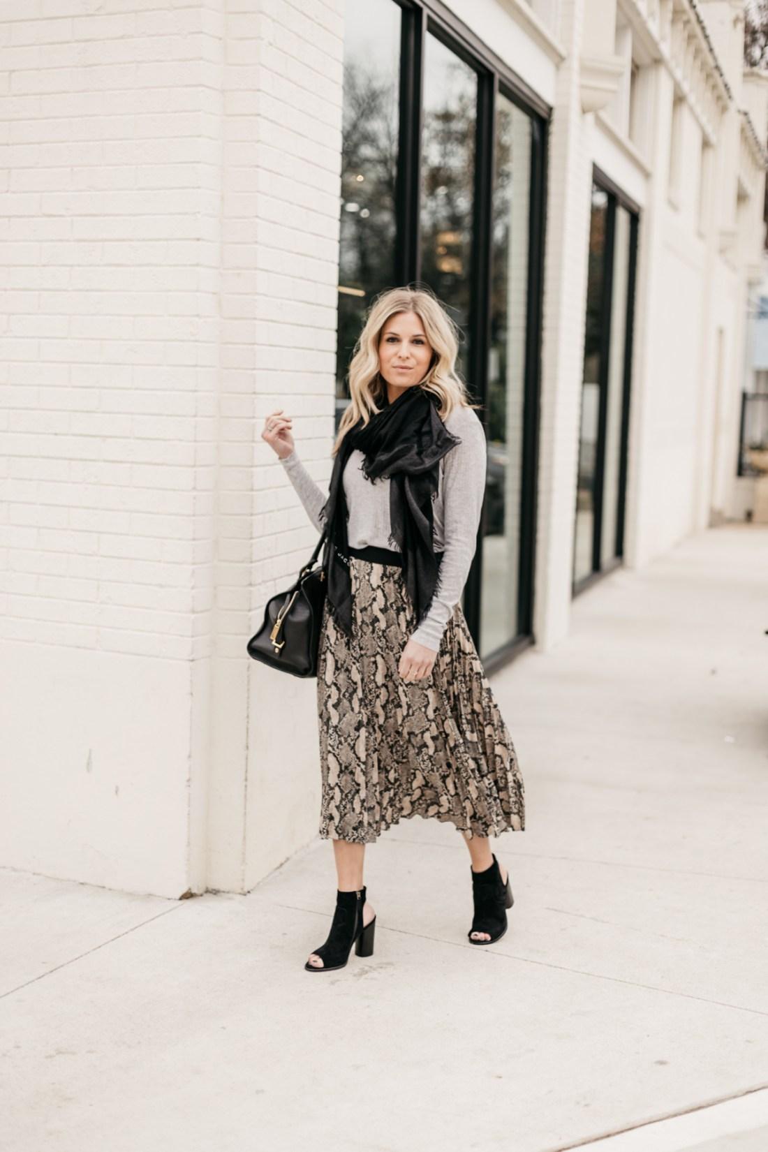 Leopard Skirt // Long Sleeve Top // Open Toed Booties // Black Fringe Scarf