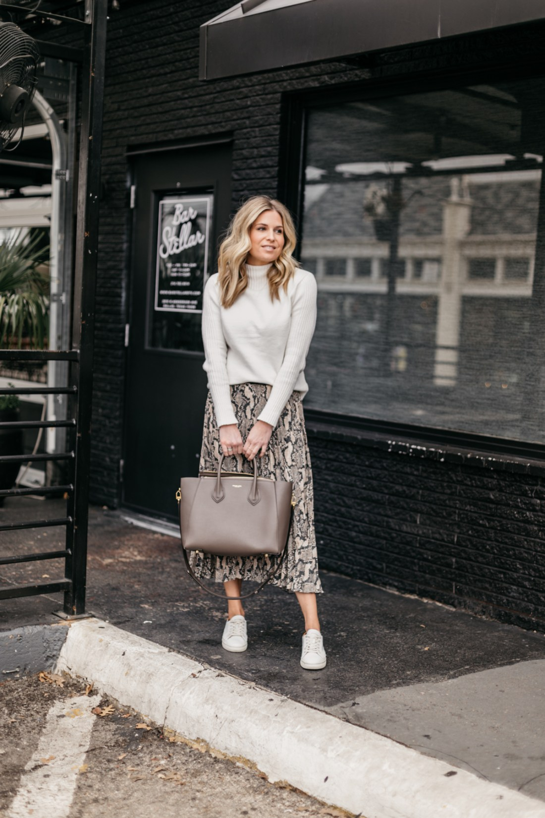 Leopard Skirt// Cream Mock Neck Sweater // White Sneakers