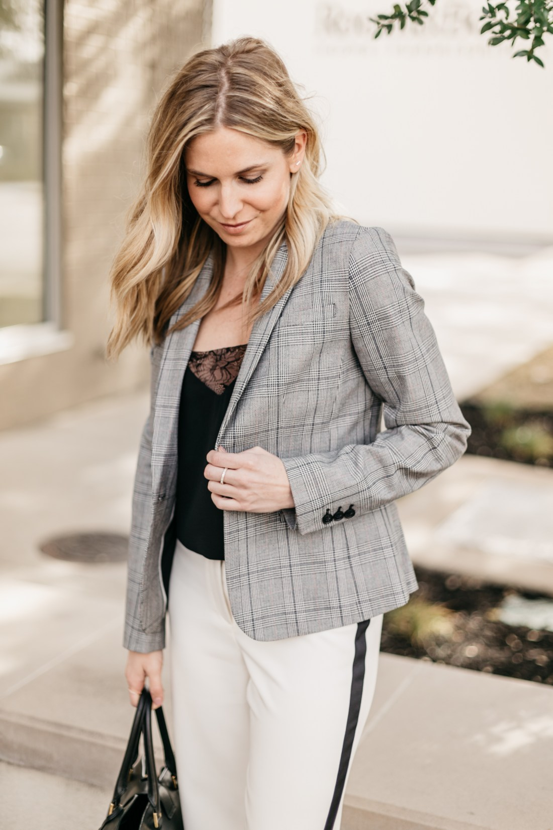 OUTFIT 1  White with Black Stripe Pants // Black Lace Camisole // Grey Plaid Fitted Blazer // Black Work Bag