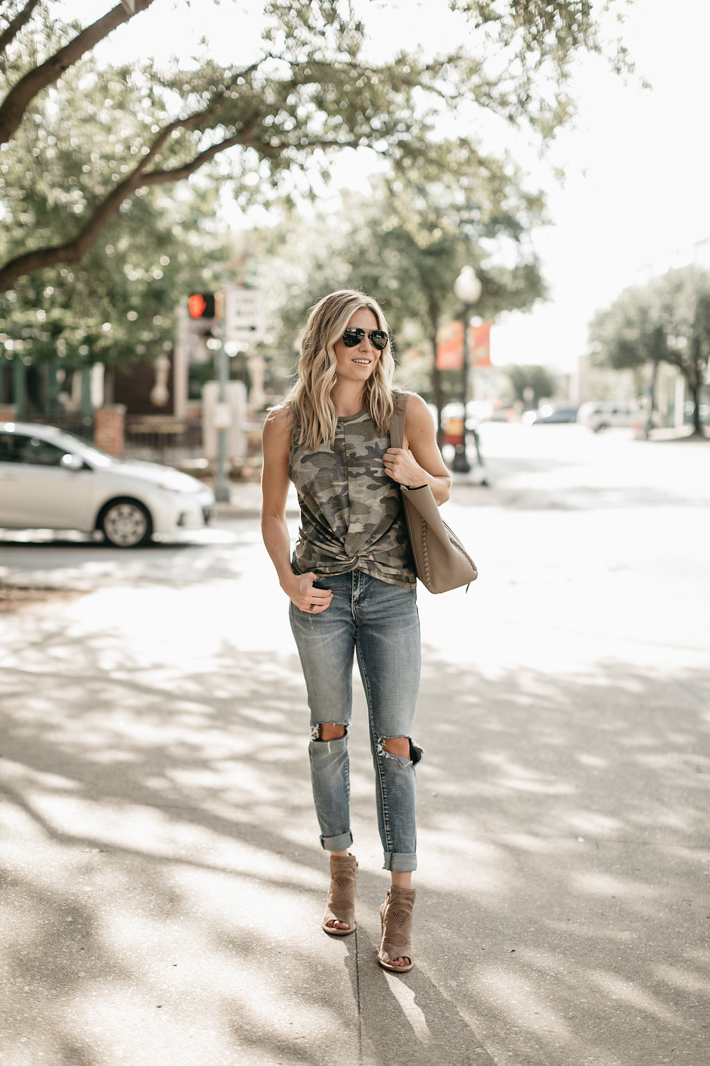 distressed denim outfit