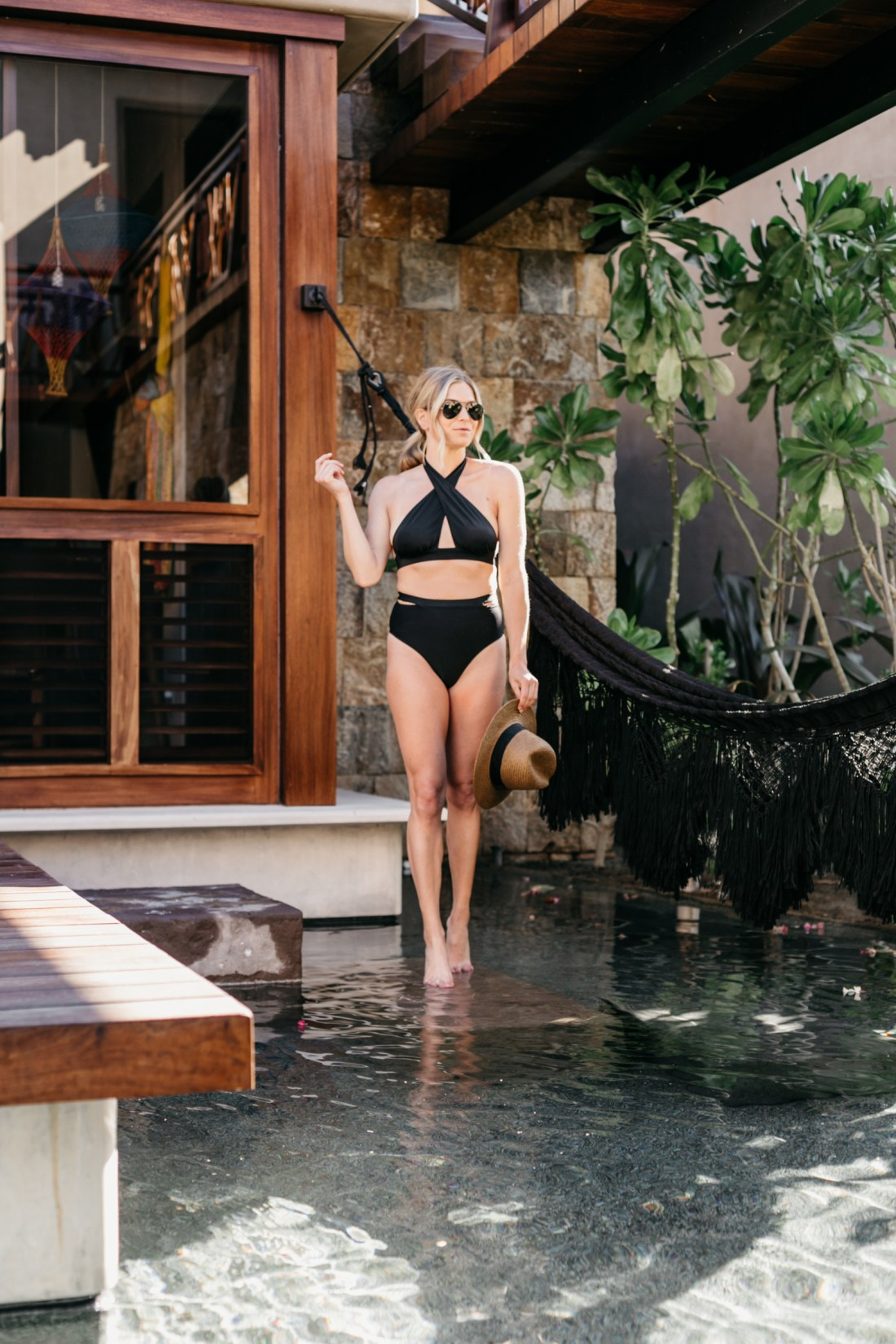 Broke is featuring a Black Criss Cross Swim Top // Black High Waist Swim Bottoms // Beach Hat // Aviator Sunglasses