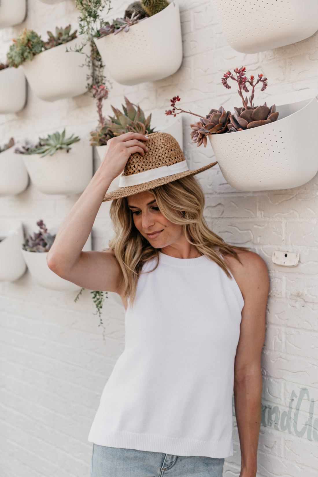 straw hat and white tank outfit
