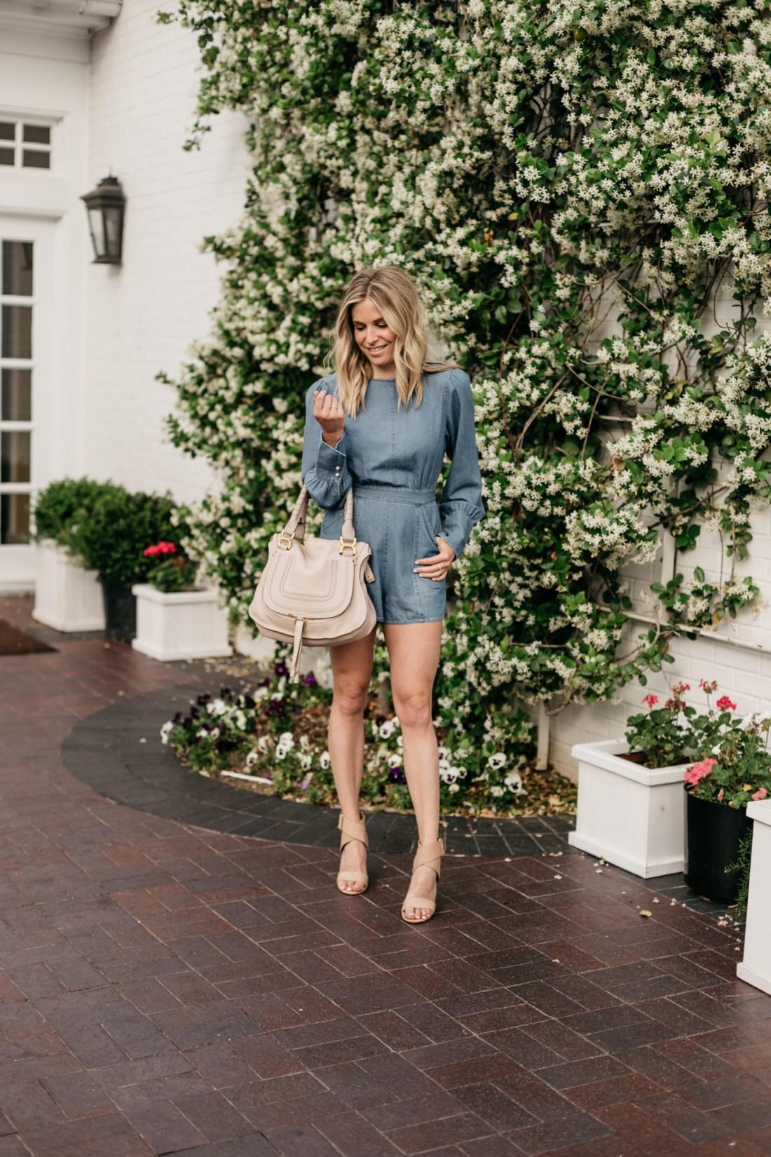 One Small Blonde outfit details: Denim Romper (ON SALE) // Nude Block Heels//Chloe Marcie Handbag