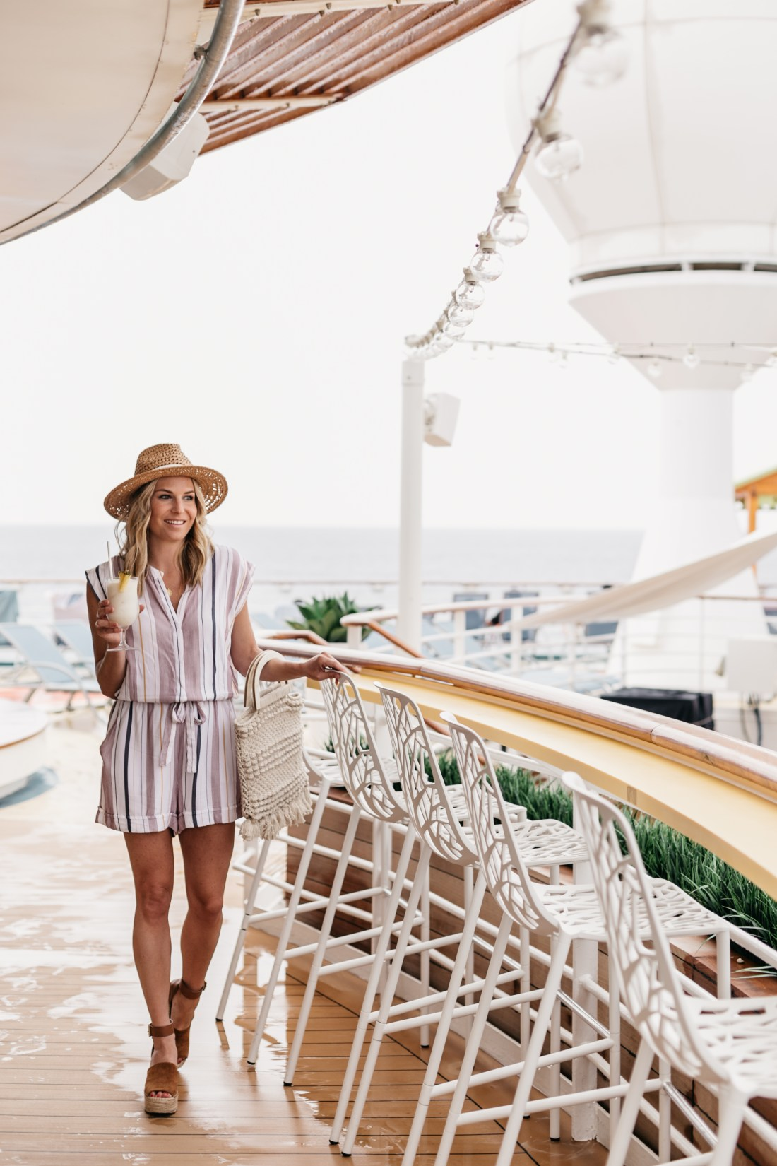 ROYAL CARIBBEAN CRUISE & A Cruise Outfit: Striped Romper // Straw Hat // Tan Espradrilles // Macrame Bag