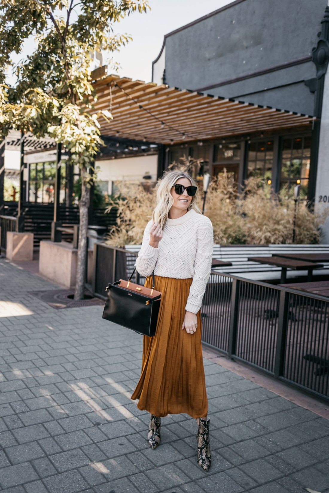 sweater and COPPER DRESS