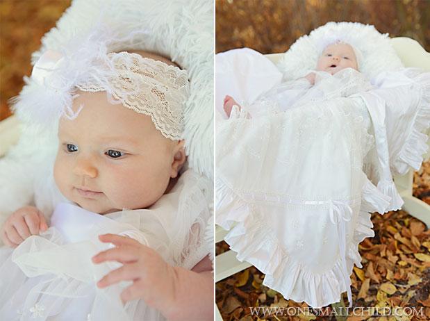 Tallie Christening Dress & Headband with Natalia Blanket   One Small Child