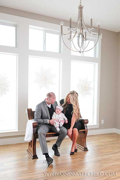 Christening Family Portrait Shot Ideas | Winter Christening at One Small Child