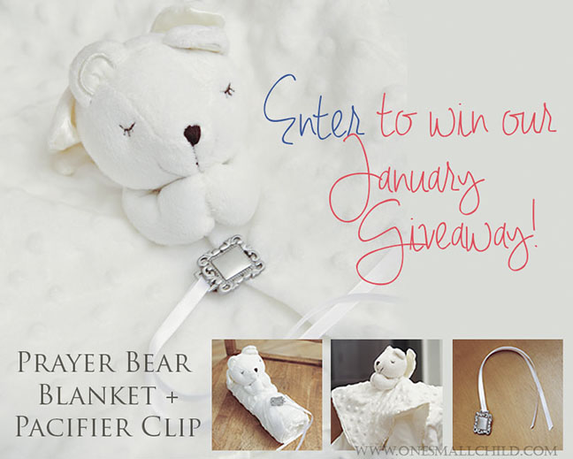 Bear Blanket Pacifier Clip Giveaway | Baby Gifts at One Small Child