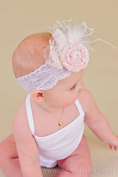 Lace Rosette Headbands for Babies   One Small Child