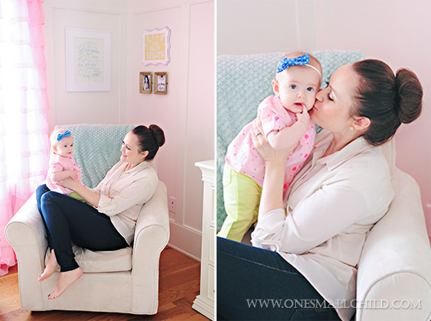 Lyla and her mommy in their comfy rocking chair | See the entire nursery at One Small Child: www.onesmallchild.com