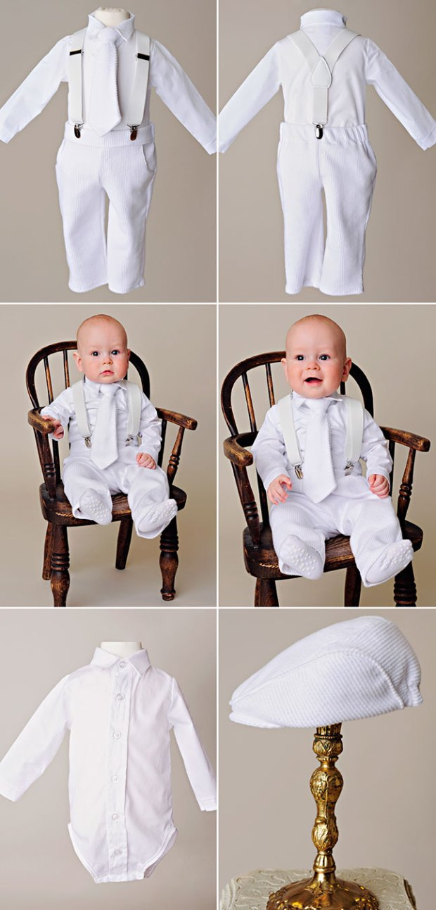 Payton Suspender Baby Boy Baptism Outfit by One Small Child