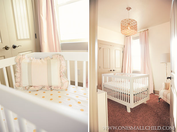Nellies Pink Gold Gray Baby Girl Nursery | One Small Child