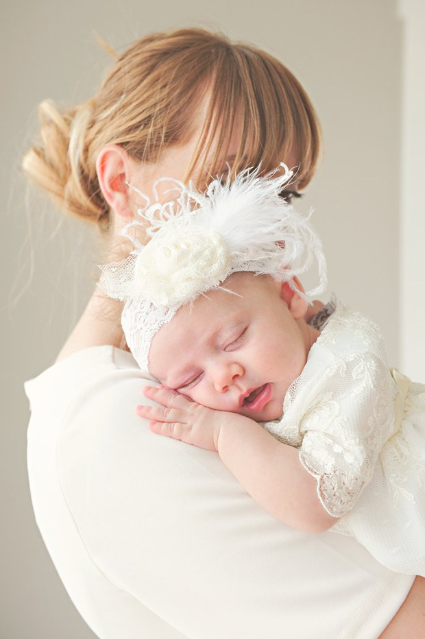 Ivory Lace Rosette Headbands   Baby Hair Accessories at One Small Child