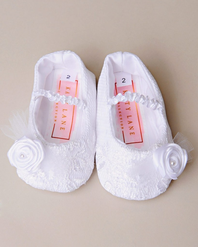 Lillian White Lace Christening Slippers