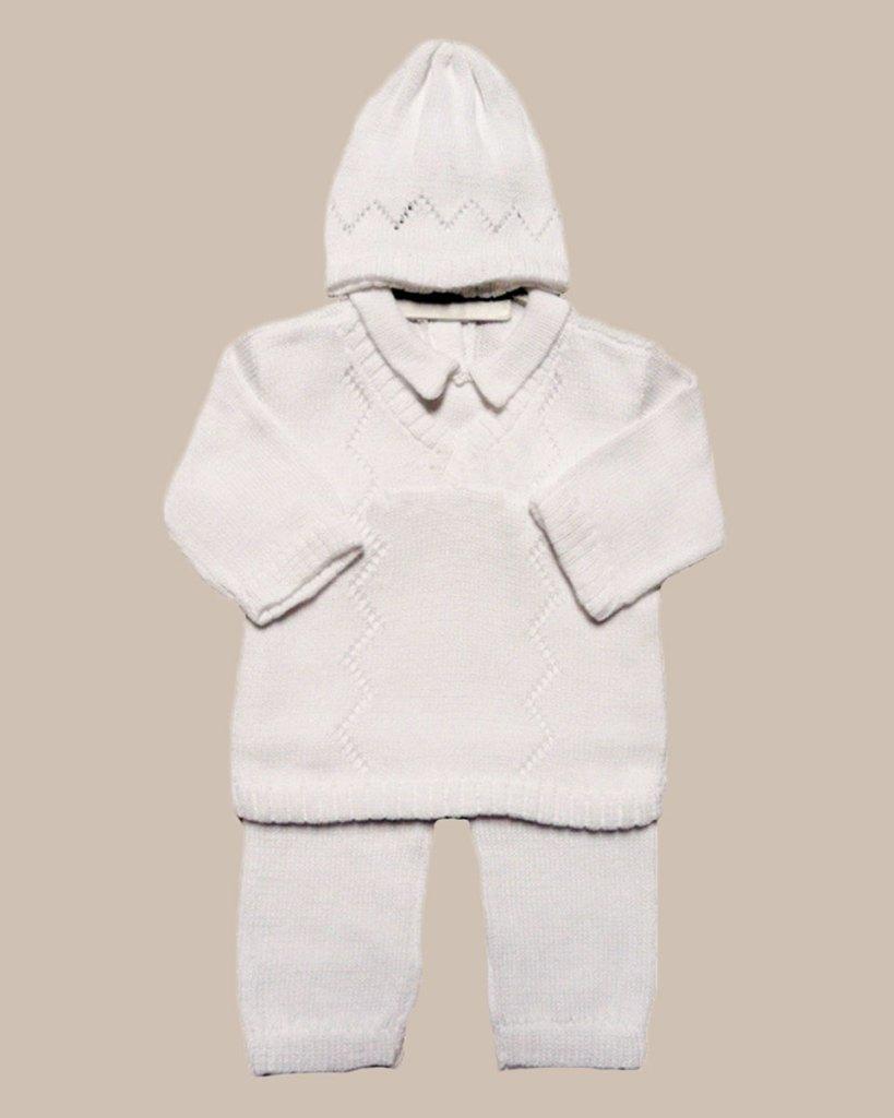 Boy's White 3 Piece Cotton Knit Outfit