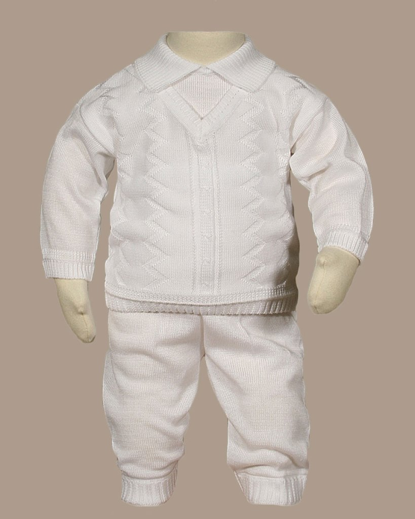 Boys 100% Cotton Knit Two Piece White Christening Baptism Outfit