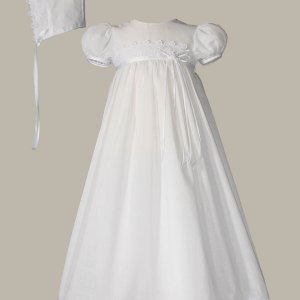 """Girls 26"""" Cotton Christening Gown with Italian Lace"""