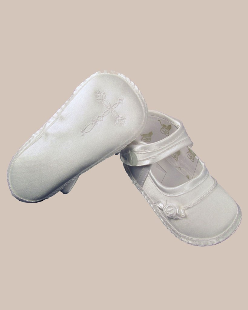 Girls Satin Shoe with Embroidered Celtic Cross