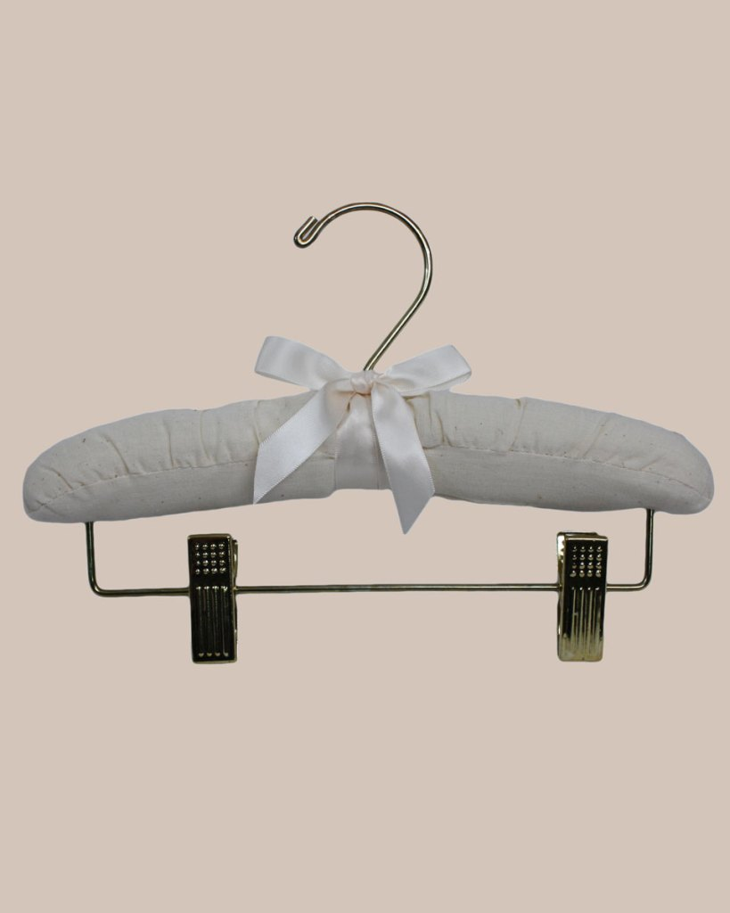 10″ Muslin Hanger with Gold Hook and Pant Clips