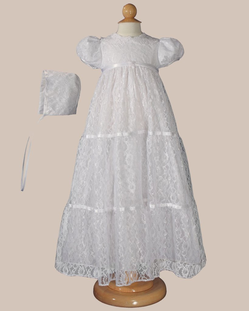 """Girls 29"""" Layered All Over Lace Christening Special Occasion Gown"""