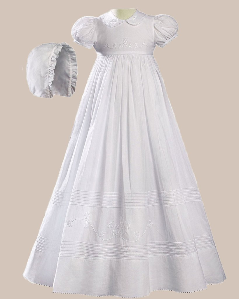 """Girls 32"""" White Cotton Short Sleeve Christening Baptism Gown with Floral Shamrock Embroidery"""