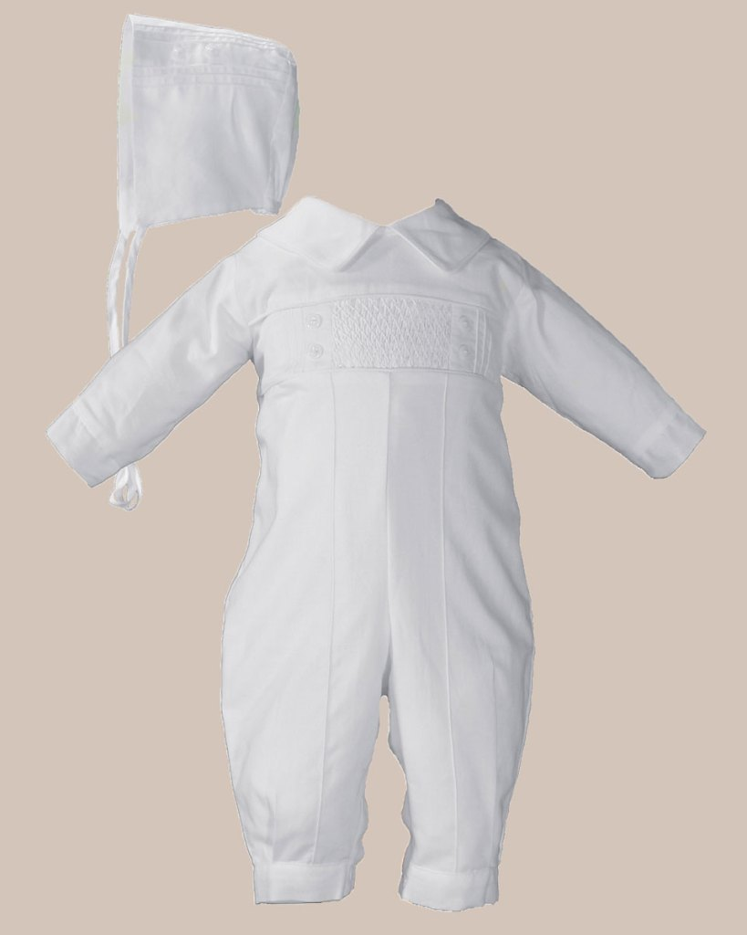 Boys Long Sleeve Cotton Hand Smocked Pin Tucked Christening Baptism Coverall