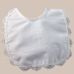 Girls Polycotton Bib with Screened Cross and Venise Edge