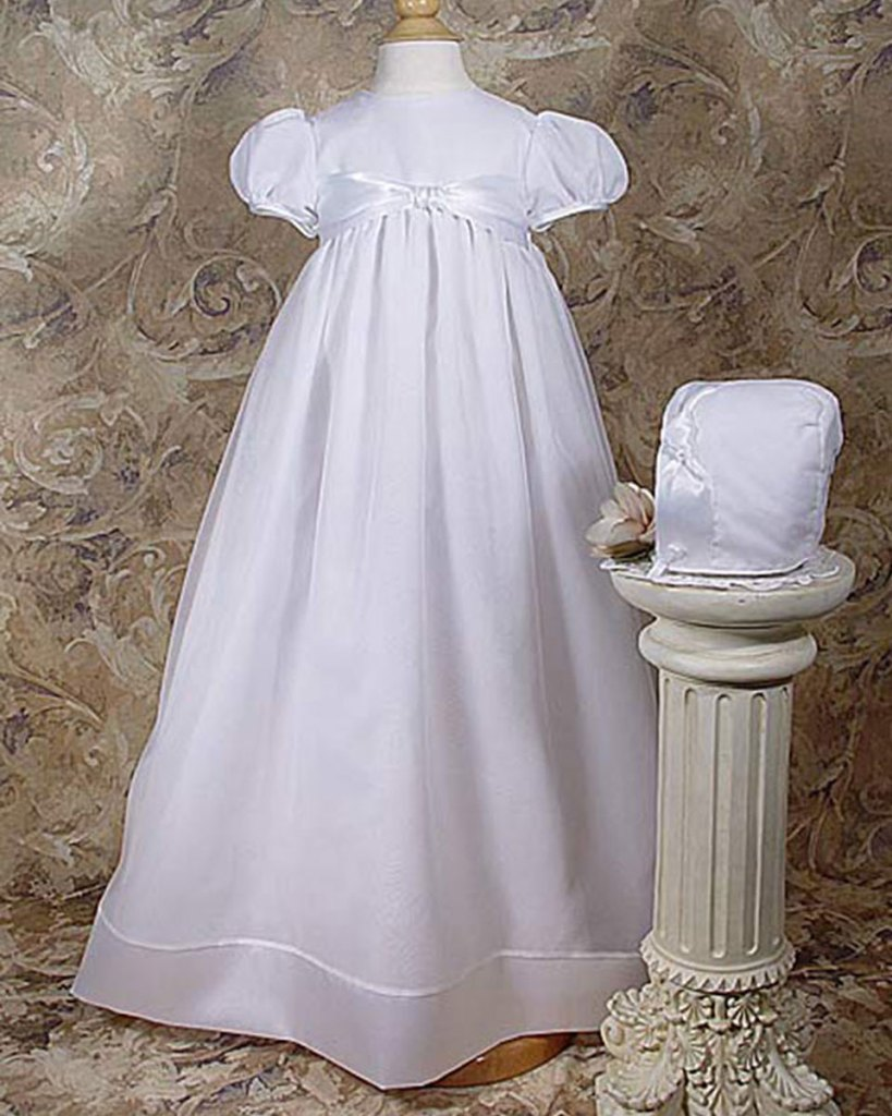 """Girls 31"""" Poly Cotton Organza Christening Gown with Bonnet and Slip"""