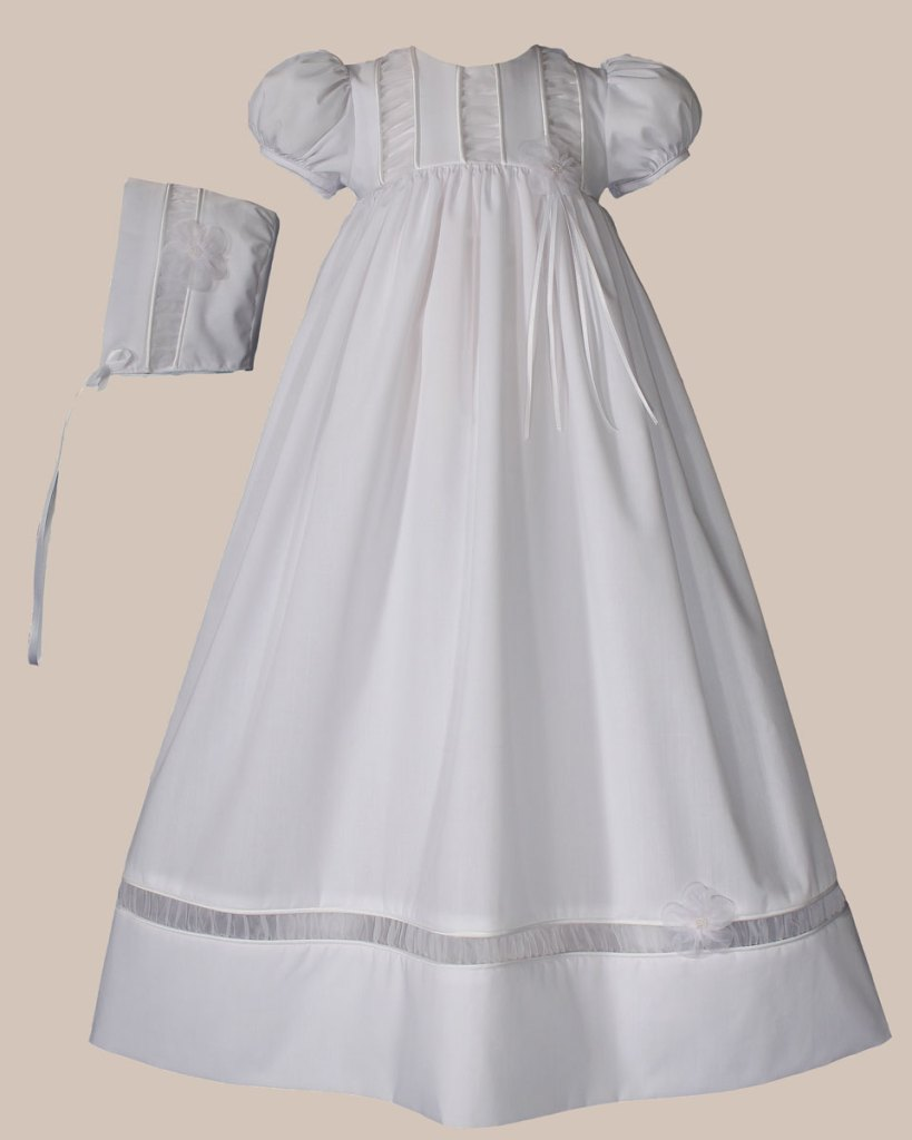 """Girls 30"""" Poly Cotton Christening Gown with Organza Ruching Accents and Bonnet"""