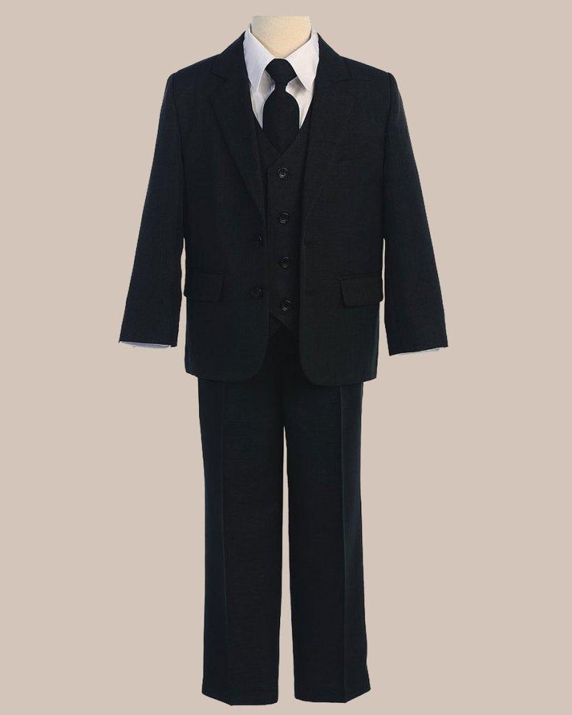 5-Piece Boy's 2-Button Jacket 4-Button Vest Dress Suit - Black