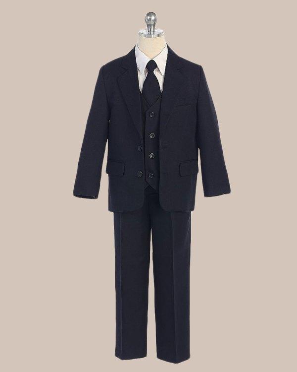 5-piece Boy' 2-button Jacket 4-button Vest Husky Dress