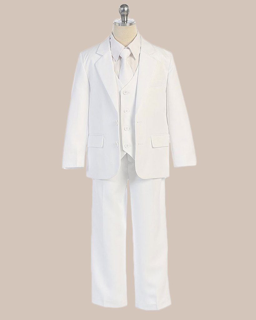 5-Piece Boy's 2-Button Jacket 4-Button Vest Husky Dress Suit - White