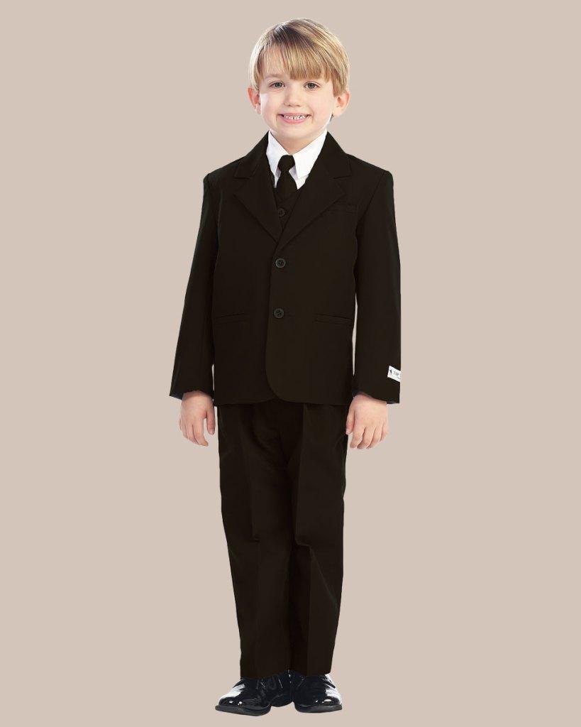 5-Piece Boy's 2-Button Dress Suit - Brown