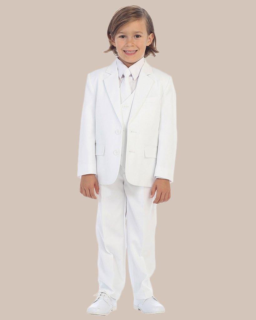 5-Piece Boy's 2-Button Dress Suit Tuxedo - White