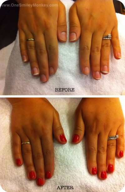 Shellac nails before and after
