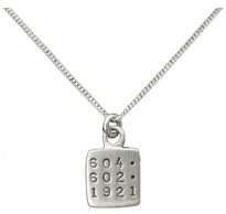 Phone number necklace