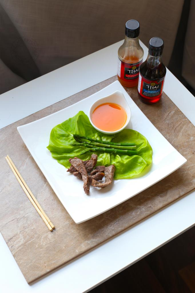 Beef and Asparagus on Lettuce Leaves {Recipe}