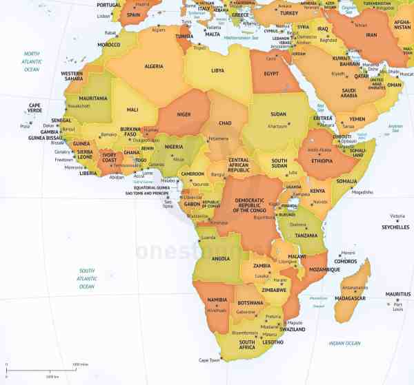 Vector Map of Africa Continent Political One Stop Map