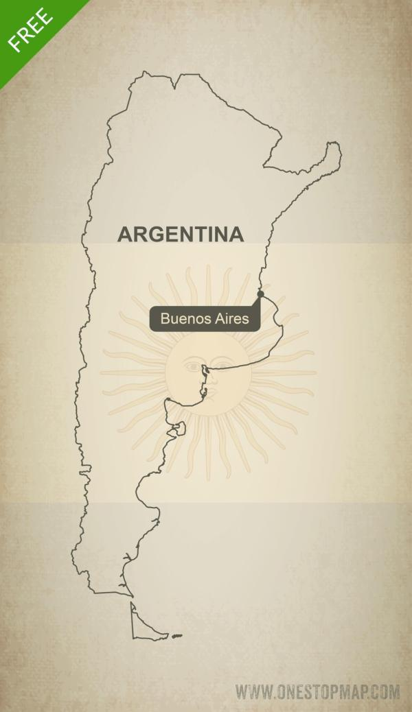 Free Vector Map of Argentina Outline One Stop Map