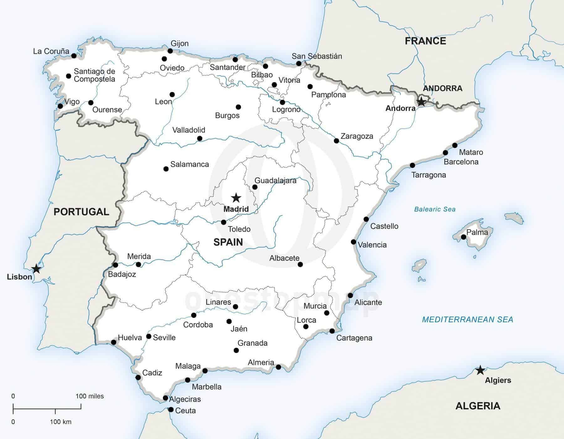 Vector Map Of Spain Political