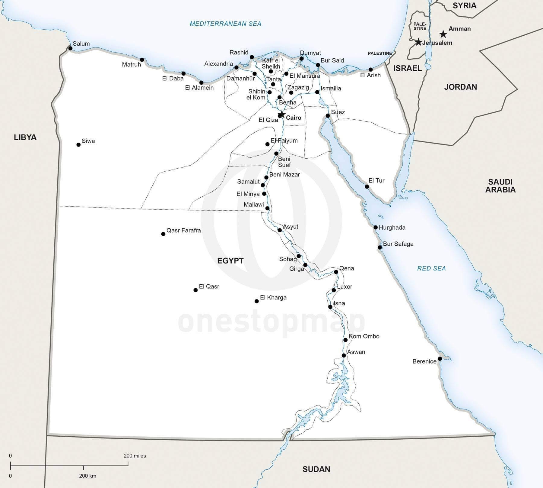 Vector Map Of Egypt Political