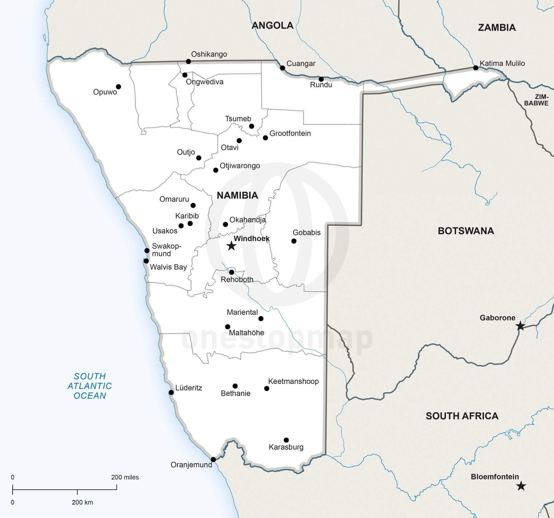 Vector Map Of Namibia Political