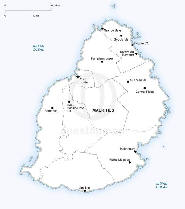 Vector Map of Mauritius Political One Stop Map