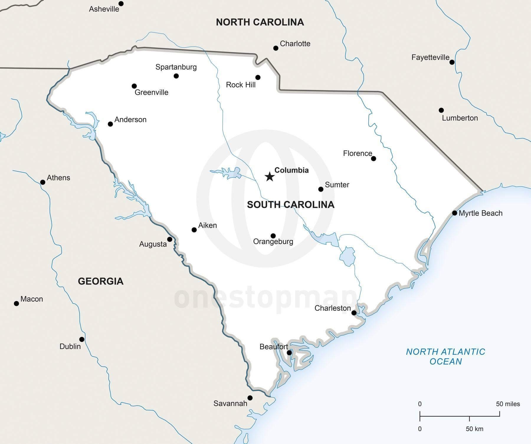 Vector Map Of South Carolina Political
