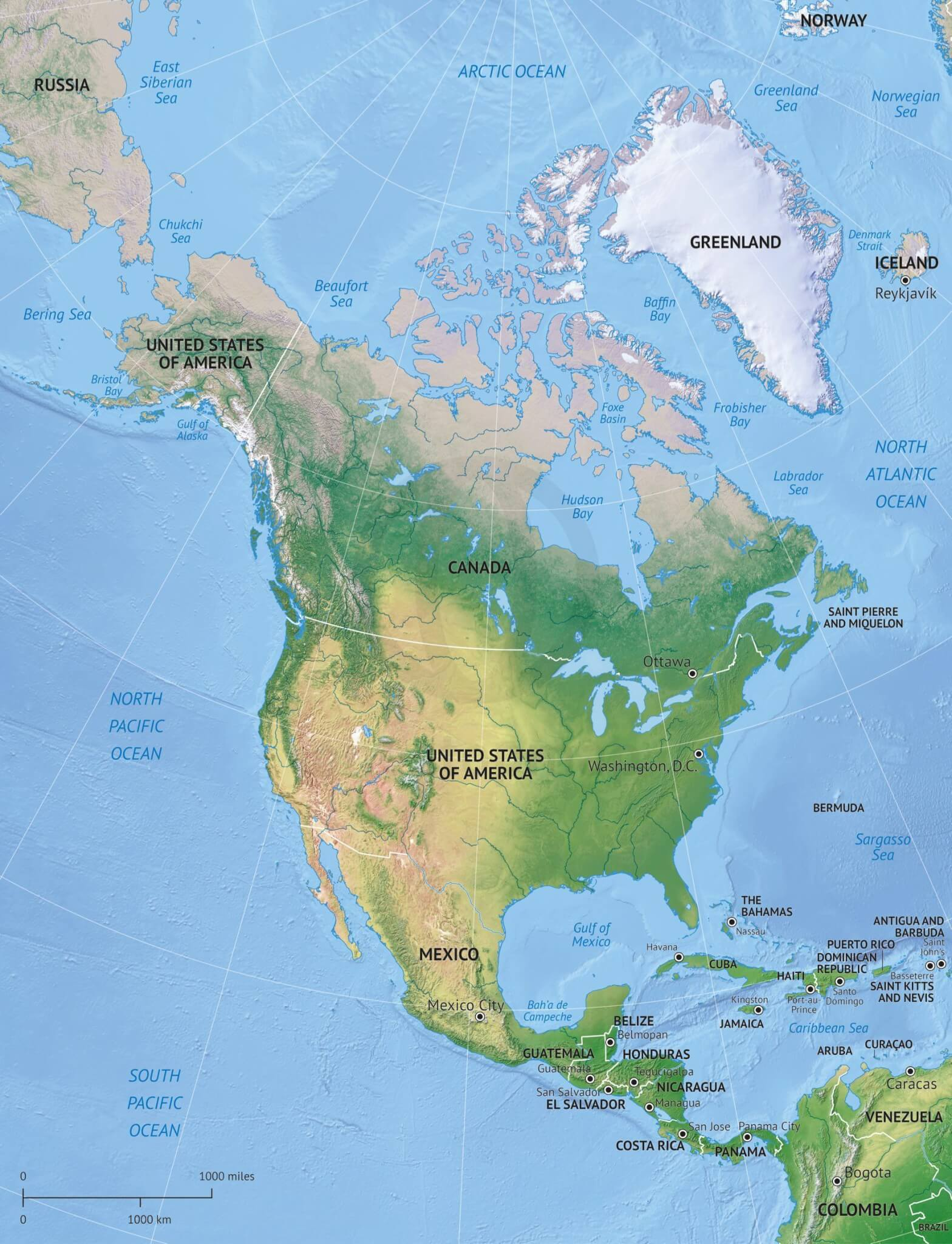 Vector Map North America Continent Relief
