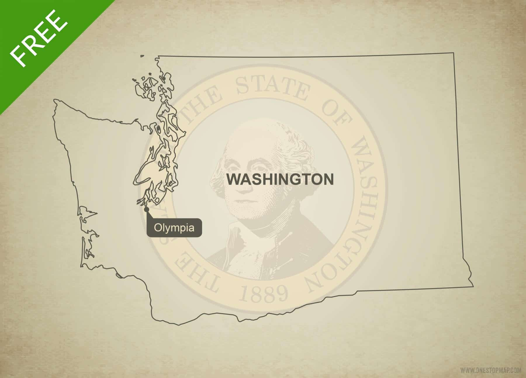 Free Vector Map Of Washington Outline