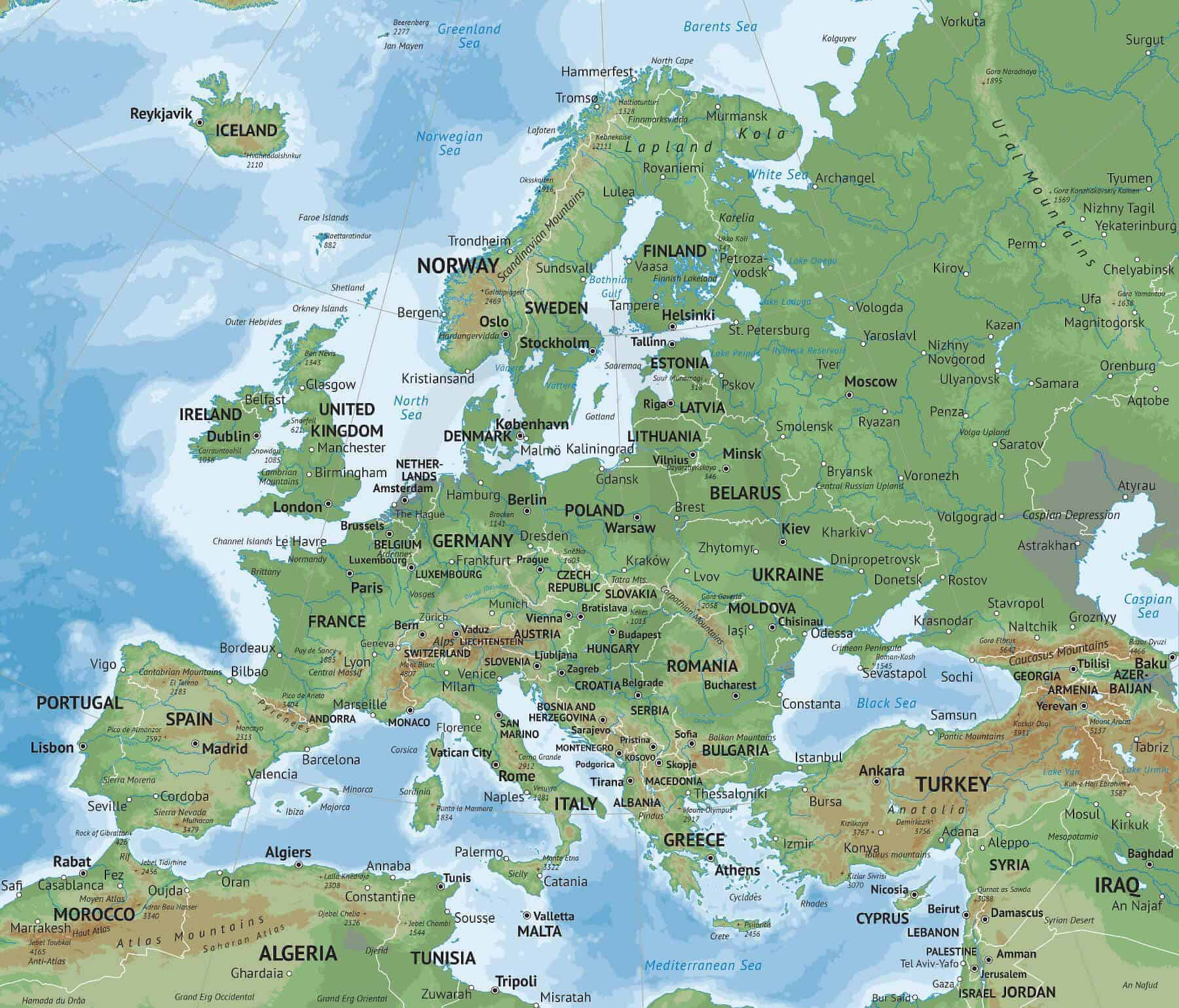 Vector Map Of Europe Continent Physical